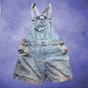 Large Cherokee blue denim overall shorts